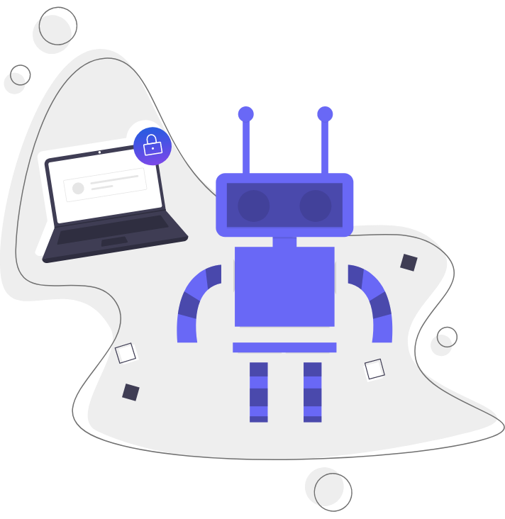 robot illustration using website builder on laptop